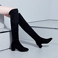 Feminino Sapatos Couro Ecológico Outono Inverno Conforto Botas Salto Grosso Ponta Redonda Com Para Casual Preto