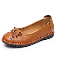 Dame Flate sko Komfort PU Sommer Avslappet Svart Gul Rød Flat