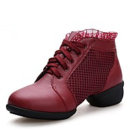 Non Customizable Women's Dance Shoes Leather Dance Sneakers / Modern Sneakers Low Heel Outdoor Black/Red/White