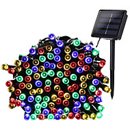 hkv® 1 stk 17m 100led varm hvid hvid blå rgb 8-dages solstrømslampe til udendørs hjem haven bryllup jul fest dekoration