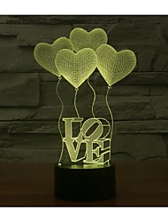 Valentine's day quatro amor 3d luzes colorido toque visual tridimensional poupança de energia gradiente lâmpada