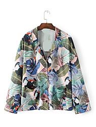 Damen Druck Sexy Einfach Street Schick Ausgehen Lässig/Alltäglich Hemd,Hemdkragen Sommer Langarm Baumwolle Dünn Mittel