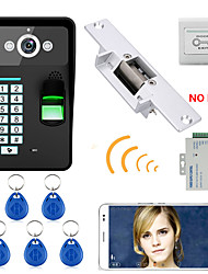 720p bezdrátové wifi rfid heslo rozpoznávání otisků prstů video dveřní telefon doorbel intercom systém elektrický zámek zámek