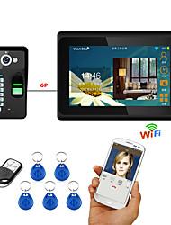 7inch kabelové / bezdrátové wifi otisků prstů rfid heslo video dveřní telefon doorbell intercom systém upport vzdálené aplikace odemknutí