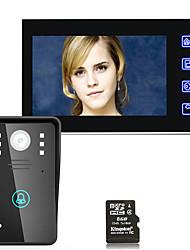 7inch hd nahrávání video dveřní telefon intercom doorbell s 8g tf kartou dotykové tlačítko dálkové odemykání noční vidění bezpečnost CCTV