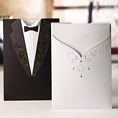 """Embrulhado e de Bolso Convites de casamento 50-Cartões de convite Estilo Clássico Papel de Cartão 7 1/5""""×5"""" (18.4*12.8cm)"""