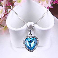Women's Pendant Necklaces Sapphire Heart Austria Crystal Alloy Love Fashion Costume Jewelry Jewelry For Wedding Party Special Occasion