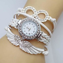 Mulheres Relógio de Moda Bracele Relógio Simulado Diamante Relógio Quartzo asa imitação de diamante Couro Banda Brilhante BoêmioBranco