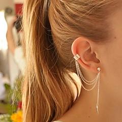 Femme Clips Boucles d'Oreille Poignets oreille Personnalisé Européen Mode bijoux de fantaisie Plaqué argent Alliage Forme de Feuille