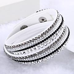 Feminino Enrole Pulseiras Original Moda Multi Camadas Jóias de Luxo bijuterias Pele Strass Imitações de Diamante Jóias Jóias Para