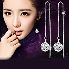 Homme Femme Boucles d'oreille goutte Imitation de diamant Mode Elegant bijoux de fantaisie Argent sterling Cristal Imitation Diamant Balle