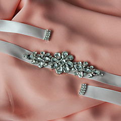 Satin Wedding / Party/ Evening / Dailywear Sash-Beading / Appliques / Rhinestone Women's 98 ½in(250cm) Beading / Appliques / Rhinestone