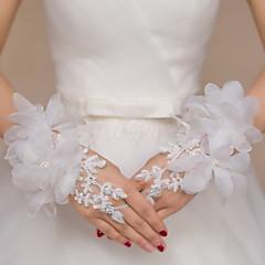 K zápěstí Bez prstů Rukavice Krajka Pro nevěstu Party rukavičky Květiny Výšivka Kamínky