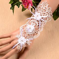 K zápěstí Bez prstů Rukavice Krajka Pro nevěstu Party rukavičky Jaro Léto Květiny Výšivka