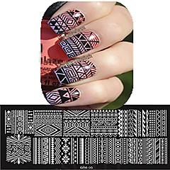 1pcs 12 * 6cm nail art otiskivanje ploča lijepi cvijet šarene slike alata dizajn noktiju les cool01-10