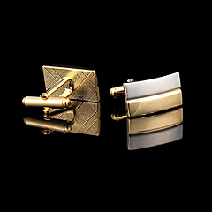 Gold Plated Rectangle Cufflinks Men's Jewelry Cufflink Groomsman Gifts Golden Cuff Buttons With Gift Box