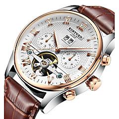 KINYUED Férfi Ruha óra Szkeleton óra Karóra mechanikus Watch Automatikus önfelhúzós Naptár Kronográf Vízálló Bőr Zenekar Alkalmi Luxus