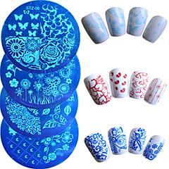 7pcs / set vruće prodaja moda nail art žigosanje ploča šareni cvijet leptir lijep srca dizajn manikura matrice noktiju alat