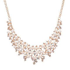 שרשראות דמוי פנינה ריינסטון שרשראות מחרוזת שרשראות הצהרה תכשיטים חתונה Party ארוסים Round Shape Geometric Shape גיאומטרי דמוי פנינה אופנתי