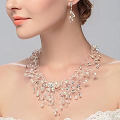 Dame Choker Halskjede Perle Legering Euro-Amerikansk Hvit Smykker Til Bryllup Fest Spesiell Leilighet Bursdag Engasjement Avslappet 2 Stk.