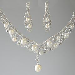 בגדי ריקוד נשים שרשראות תליון טיפה דמוי פנינה אבן נוצצת עיצוב בייסיק תכשיטים ל חתונה Party אירוע מיוחד יום הולדת ארוסים סט1