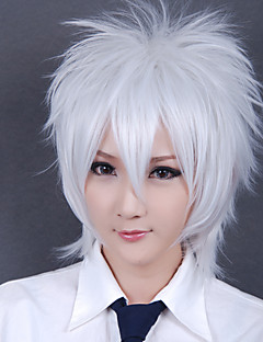 Perucas de Cosplay Gintama Gintoki Sakata Branco Curto Anime Perucas de Cosplay 30 CM Fibra Resistente ao Calor Masculino