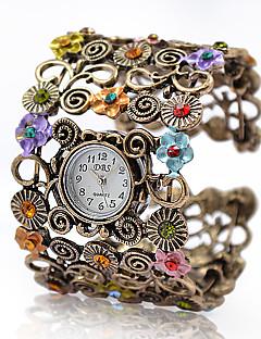 בגדי ריקוד נשים שעוני אופנה שעון צמיד קווארץ סגסוגת להקה וינטאג' פרח צמיד אלגנטי ברונזה