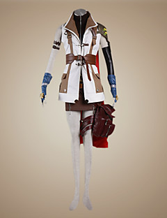 Inspireret af Final Fantasy Lightning video Spil Cosplay Kostumer Cosplay Kostumer Patchwork Hvid Brun Langt ÆrmeJakke Top Skjørte Shorts
