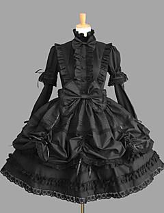 Yksiosainen/Mekot Gothic Lolita Lolita Cosplay Lolita-mekot Musta Yhtenäinen Puhvihiha Pitkähihainen Keskipitkä Leninki varten Puuvilla