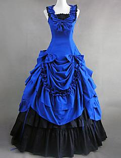 Yksiosainen/Mekot Gothic Lolita Viktoriaaninen Cosplay Lolita-mekot Sininen Patchwork Hihaton Lolita Leninki varten Puuvilla