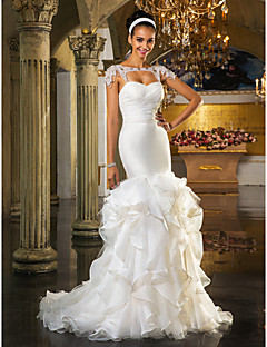 Sheath / Column Sweetheart Sweep / Brush Train Organza Wedding Dress with Crystal by LAN TING BRIDE®