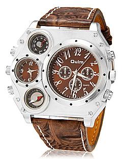Oulm Herren Militäruhr Armbanduhr Quartz Japanischer Quartz Thermometer Duale Zeitzonen Leder Band Schwarz Braun Schwarz Braun