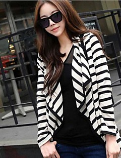 Women's Fine Stripe Casual Black White Stripe Irregular Cardigan