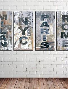 Întinse Canvas Art Retro Înscrie Cuvinte & Citate Set de 4