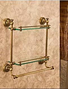 Badeværelseshylde / Antik bronzeMessing Glas /Antik