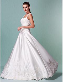 A-Linie Hranatý Na zem Satén Svatební šaty s Flitry Aplikace podle LAN TING BRIDE®