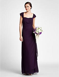 מעטפת \ עמוד מקורזל עד הריצפה שיפון שמלה לשושבינה  עם בד נשפך בצד סלסולים על ידי LAN TING BRIDE®