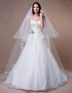 Véus de Noiva Duas Camadas Véu Capela Borda Enfeitada Tule Marfim