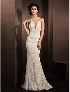 Sereia Decote mergulhador Cauda Escova Renda Vestido de casamento com Apliques de LAN TING BRIDE®