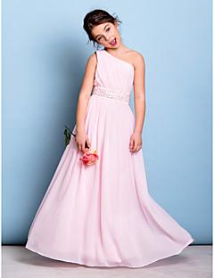 A-Şekilli Tek Omuz Yere Kadar Şifon Çocuk Nedime Elbisesi ile Boncuklama Kurdeleler Yan Drape tarafından LAN TING BRIDE®