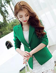 Damen Solide Volltonfarbe Einfach Arbeit Blazer,Gekerbtes Revers Frühling Herbst Lange Ärmel Standard Acryl Polyester