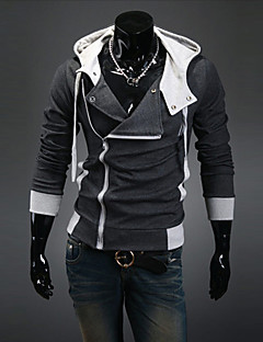 Masculino Tamanhos Grandes Jacket Hoodie Esportes Casual Simples Sólido Algodão Poliéster Inelástico Manga Longa Primavera Outono Inverno