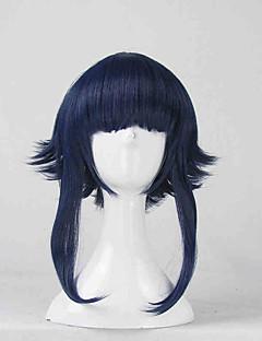 Perucas de Cosplay Naruto Hinata Hyuga Azul Curto Anime Perucas de Cosplay 35 CM Fibra Resistente ao Calor Feminino