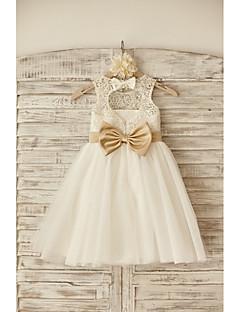 πριγκίπισσα φόρεμα κορίτσι λουλουδιών κορίτσι μήκος - λαιμό αμάνικο λαιμό σέσουλα με κορδέλα από thstylee