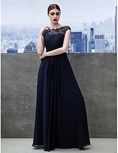 A-Linie Bateau Neck Na zem Žoržet Formální večer Velká večerní Šaty s Nabírání Krajka podle TS Couture®