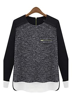 Damer Simpel Plusstørrelser Afslappet/Hverdag Normal Pullover Prikker,Rund hals Langærmet Andet Efterår Medium Uelastisk