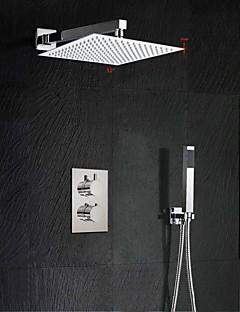 現代風 壁式 滝状吐水タイプ / サーモスタットタイプ / レインシャワー / ハンドシャワーは含まれている with  真鍮バルブ 二つのハンドル三穴 for  クロム , シャワー水栓