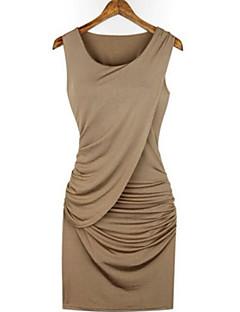 Damen Bodycon Kleid-Party Sexy Einfach Solide Rundhalsausschnitt Übers Knie Ärmellos Baumwolle Sommer Mittlere Hüfthöhe Mikro-elastisch