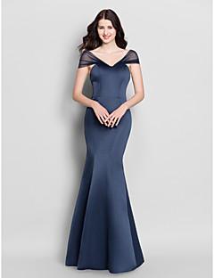 בתולת ים \ חצוצרה צווארון וי עד הריצפה סאטן שמלה לשושבינה  עם קפלים על ידי LAN TING BRIDE®