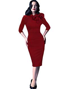 Bodycon Sukienka Damskie Praca Jendolity kolor Do kolan Bawełna Poliester Spandeks Na każdy sezon Średnio elastyczny/a Średni/a